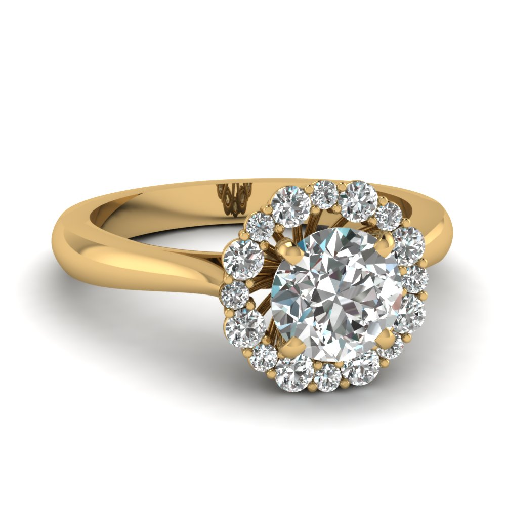 cathedral floating halo diamond engagement ring in FDENS3206ROR NL YG