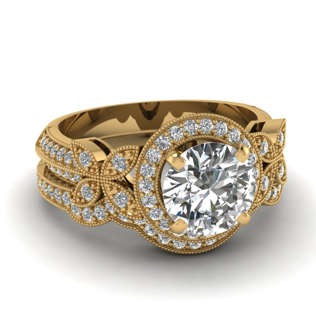 Yellow gold round white diamond engagement wedding ring in for 18k gold wedding ring set
