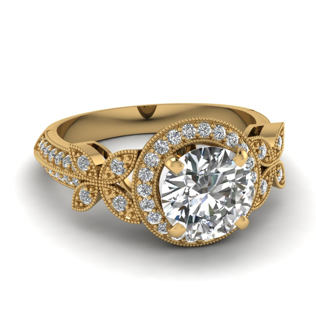 14K Yellow Gold Round Cut Pave Halo Engagement Rings ...