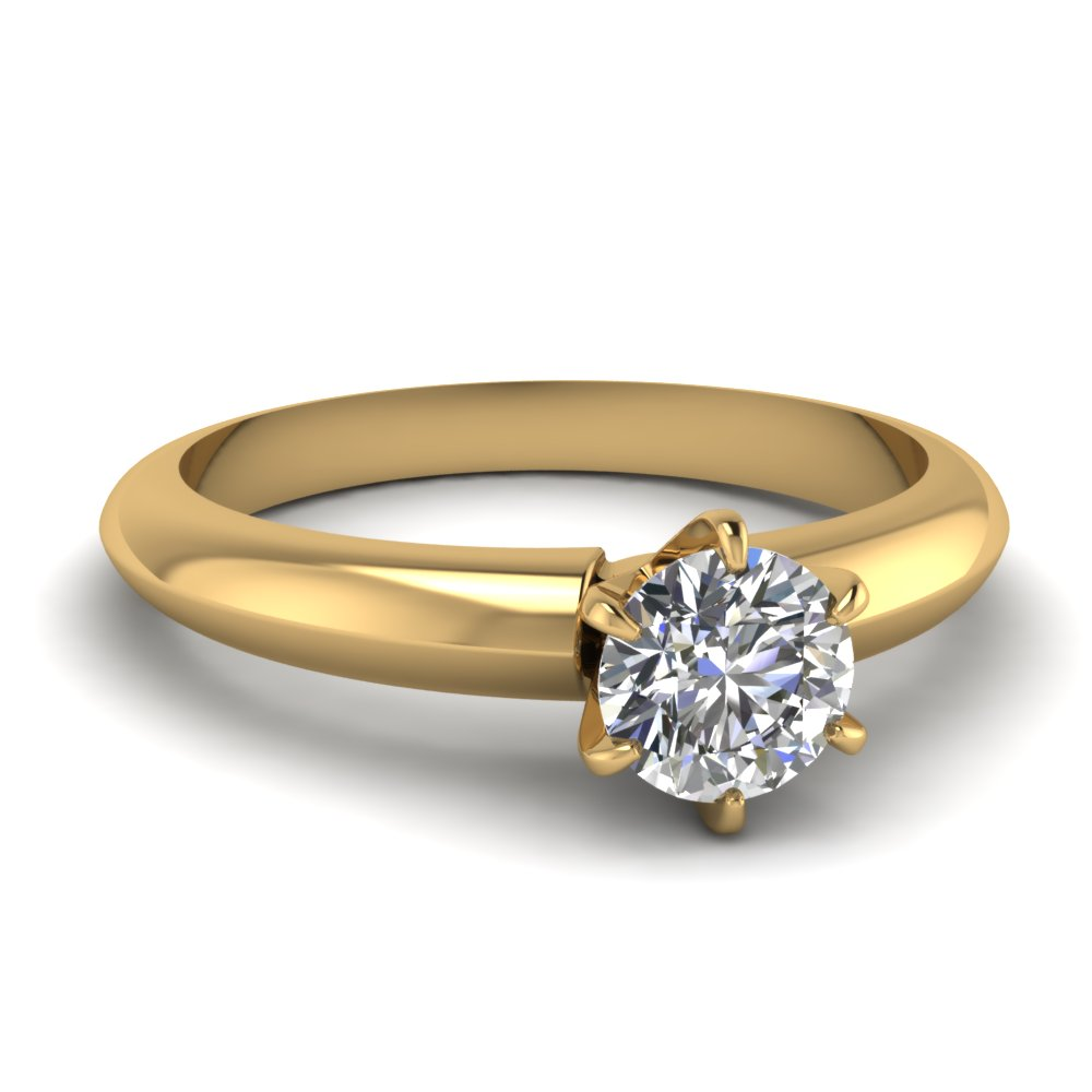 Solitaire Dome Diamond Engagement Ring In 18K Yellow Gold ...