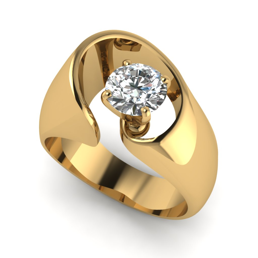 Modern 14k Yellow Gold Solitaire Ring