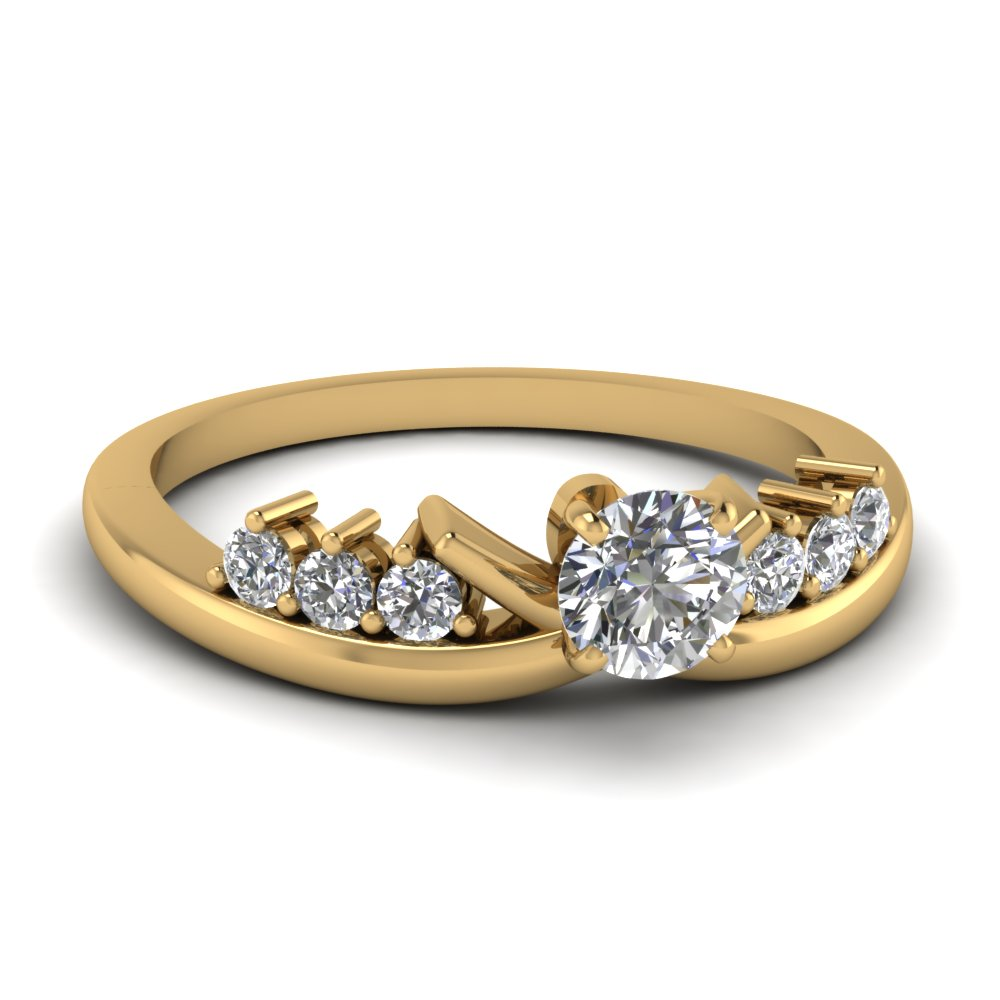 modern round diamond engagement ring in FD4490ROR NL YG