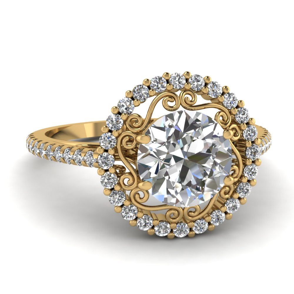 Micropave Halo 14k Yellow Gold Ring
