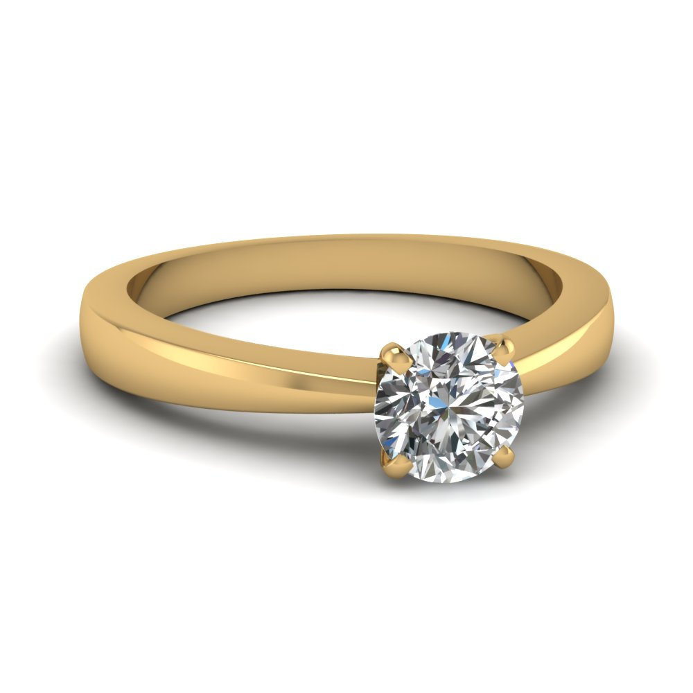 tapered traditional solitaire round cut engagement ring in FDENR1282ROR NL YG