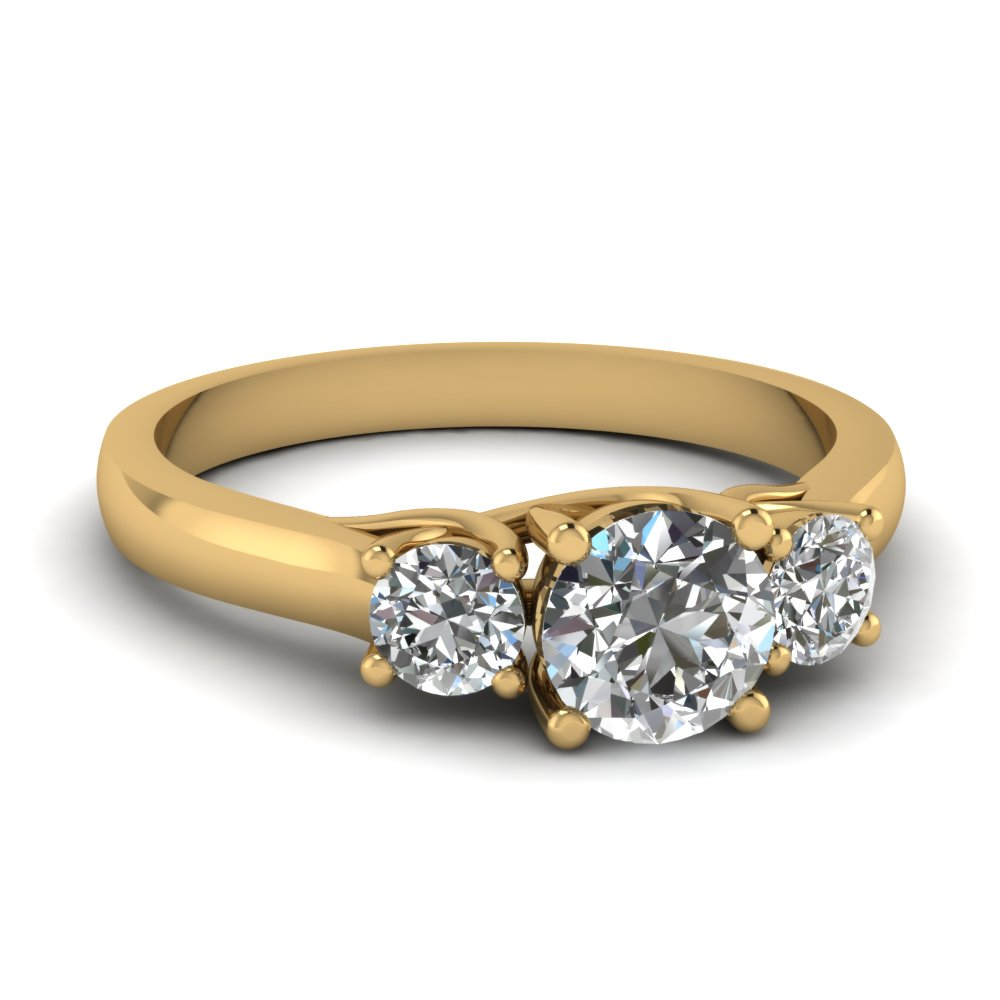 cathedral round cut 3 stone engagement ring in FDENR191ROR NL YG.jpg