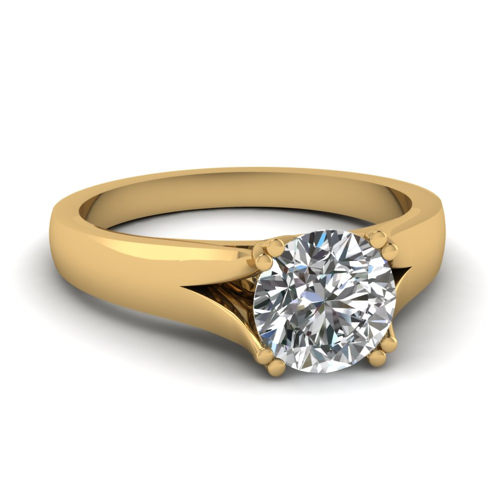 Yellow Gold Round White Diamond Engagement Wedding Ring In Prong Set