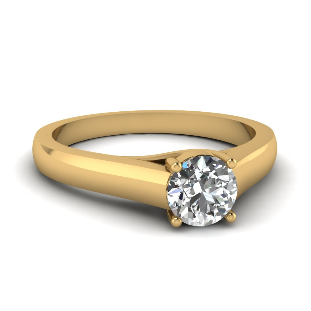 0f67b06a3 Cathedral Single Diamond Engagement Ring In 14K Yellow Gold ...