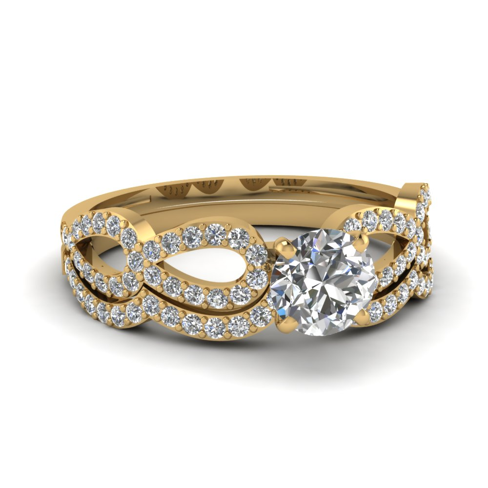 Round Yellow Gold Wedding Ring Set