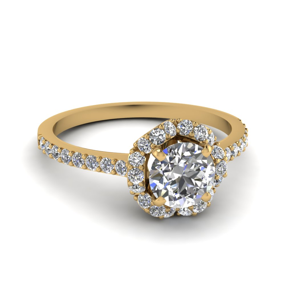 petite flower diamond engagement ring in FDENS3265ROR NL YG
