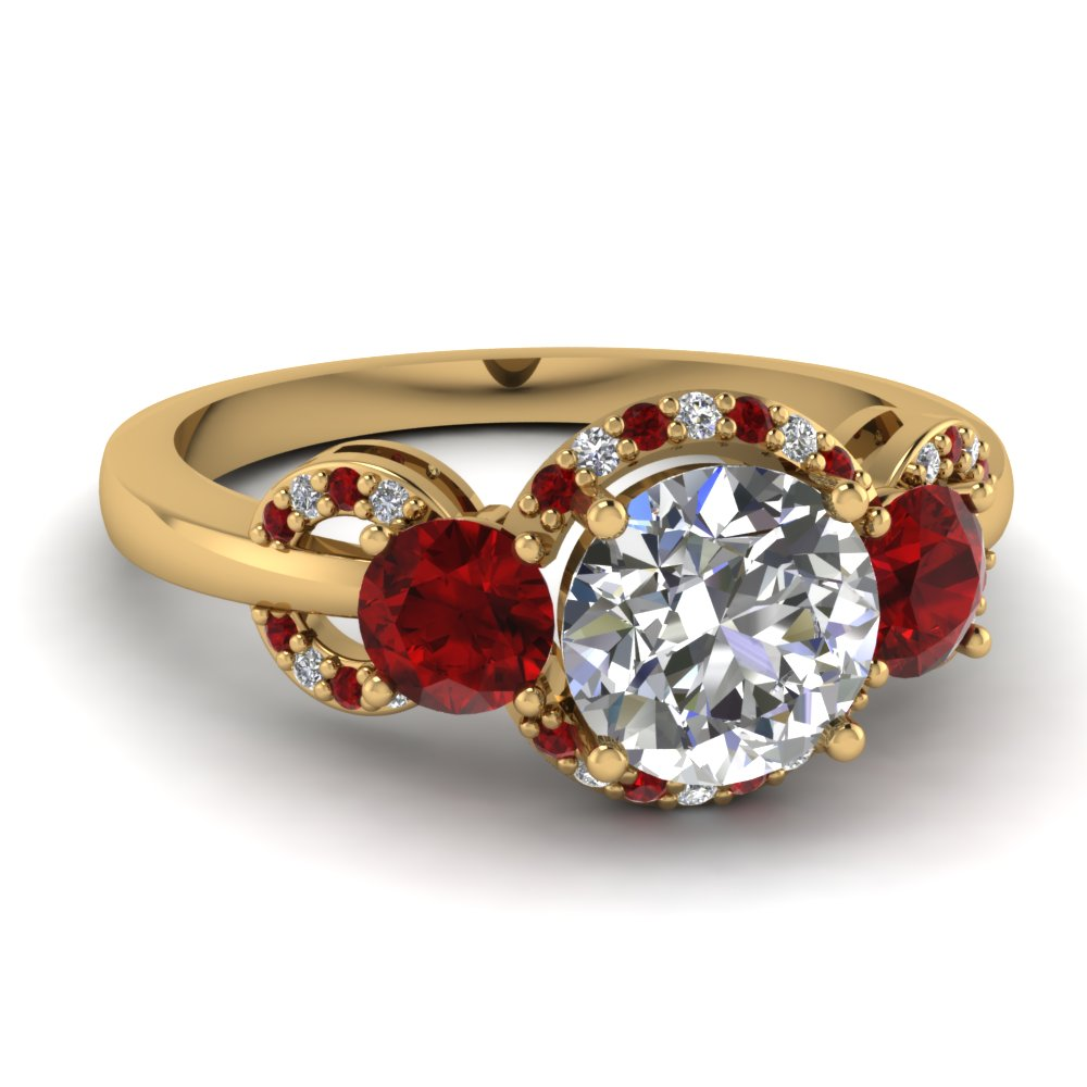 Halo Ruby Round Ring