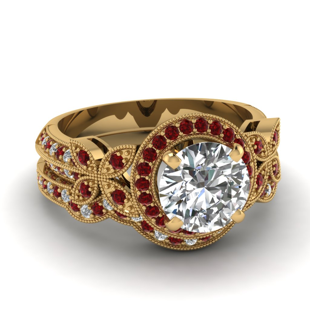 Yellow Gold Round White Diamond Engagement Wedding Ring Red Ruby In