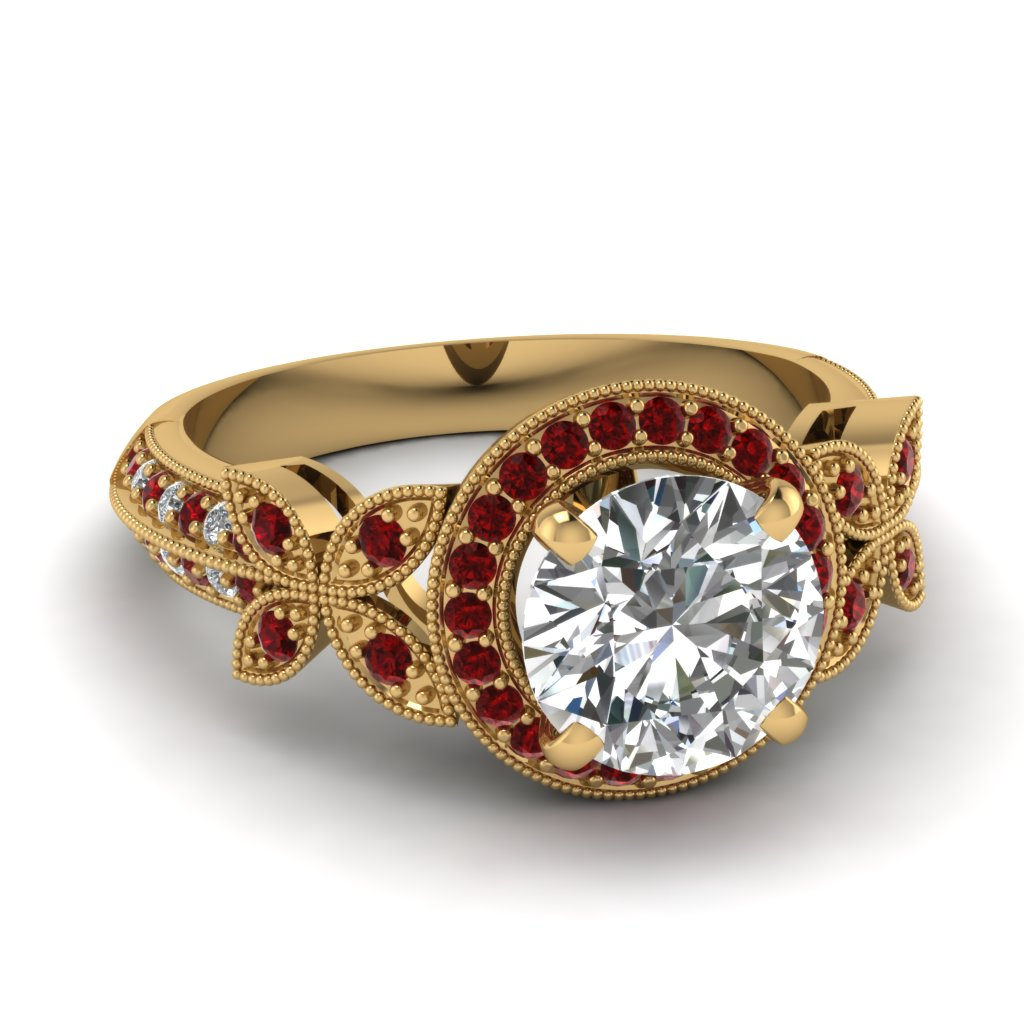 White Gold Round White Diamond Engagement Wedding Ring Red Ruby In Pave Set