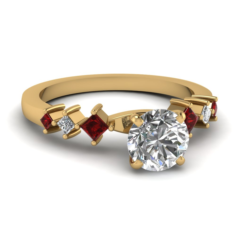 Petite Ruby Shank Round Engagement Ring