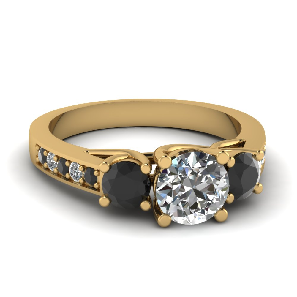 3 Stone Black Diamond Trellis Ring