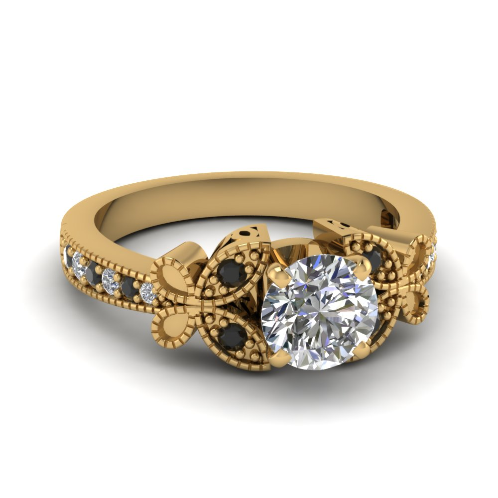 yellow-gold-round-white-diamond-engagement-wedding-ring-with-black-diamond-in-pave-set-FDENS3077RORGBLACK-NL-YG