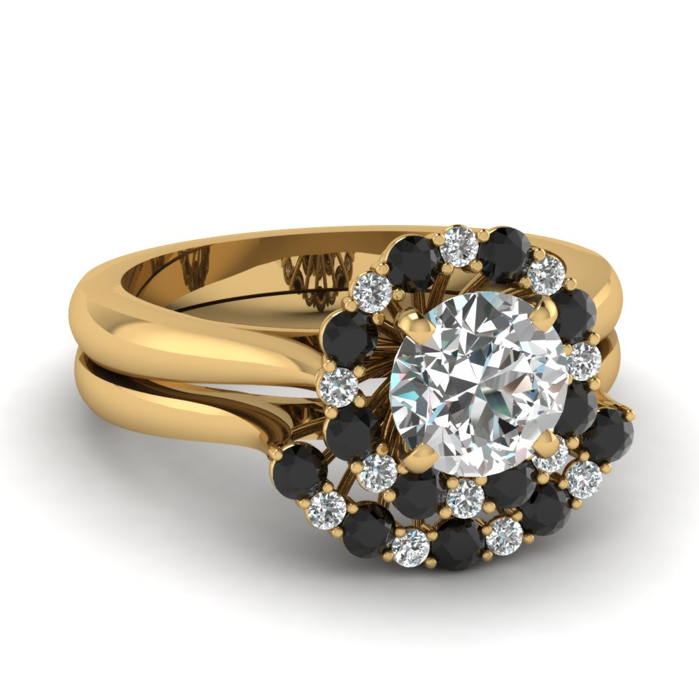 yellow gold round white diamond engagement wedding ring - Black Diamond Wedding Ring Set