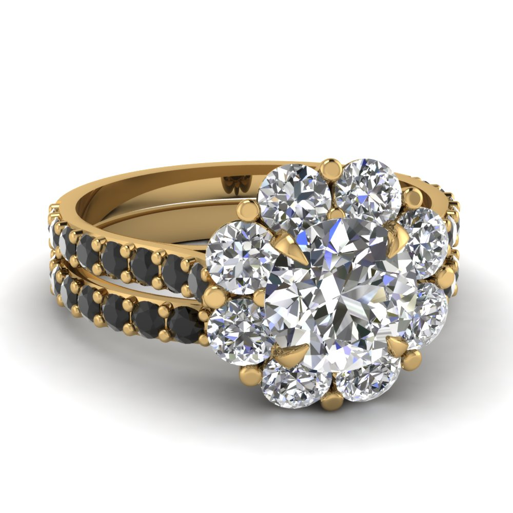 flower halo wedding ring set with black diamond in 14K yellow gold FD68893ROGBLACK NL YG
