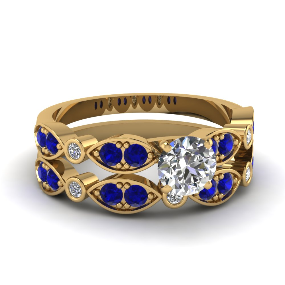 yellow-gold-round-white-diamond-engagement-wedding-ring-with-blue-sapphire-in-pave-bezel-set-FDENS2035ROGSABL-NL-YG