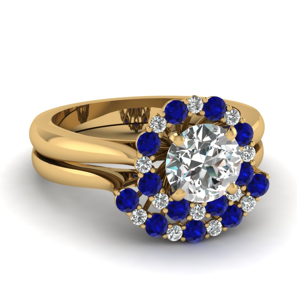Cathedral Floating Halo Diamond Wedding Ring Set With Sapphire In