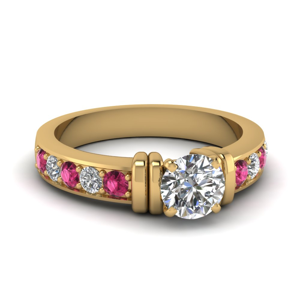 simple bar set round lab diamond engagement ring with pink sapphire in FDENR957RORGSADRPI Nl YG