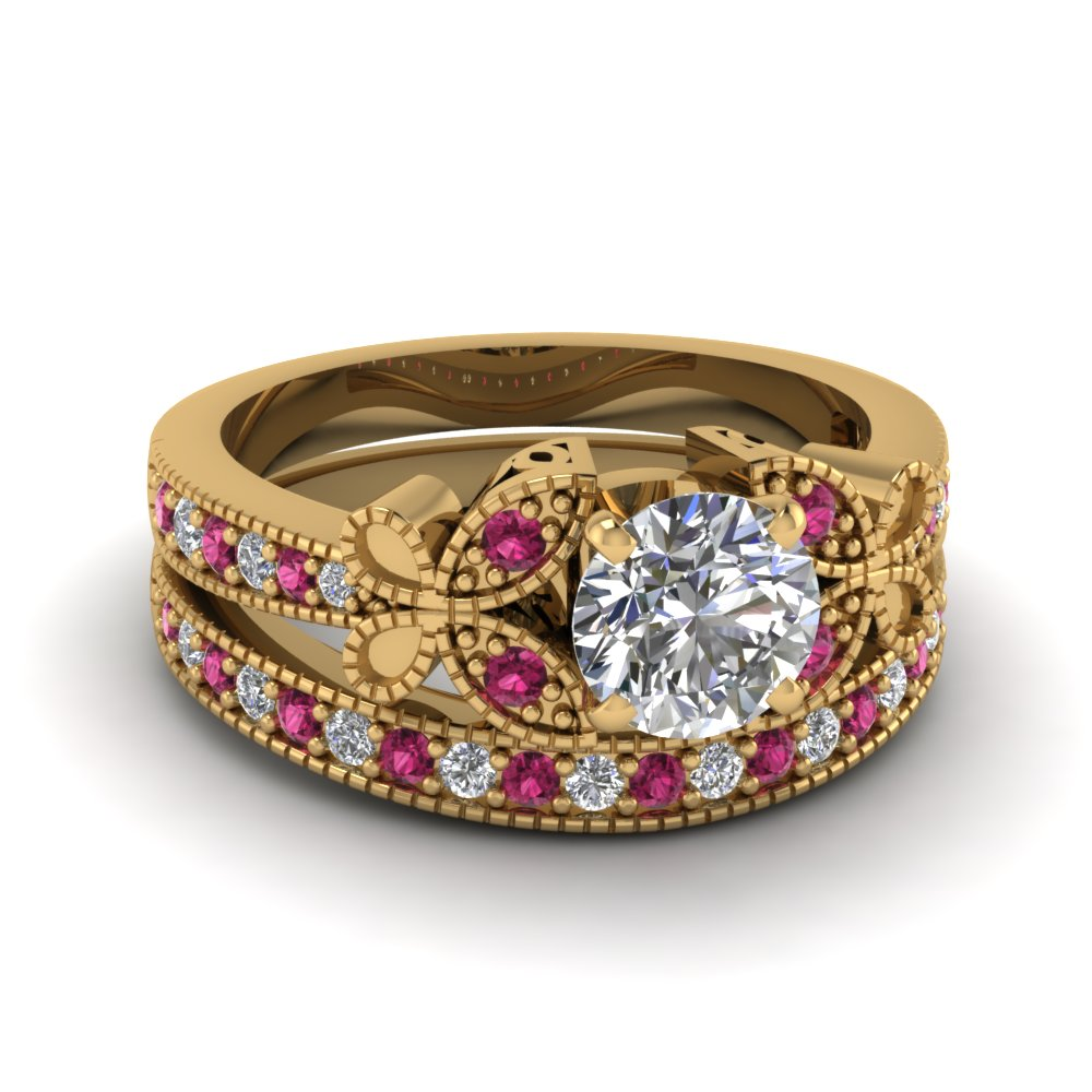 yellow-gold-round-white-diamond-engagement-wedding-ring-with-dark-pink-sapphire-in-pave-set-FDENS3077ROGSADRPI-NL-YG