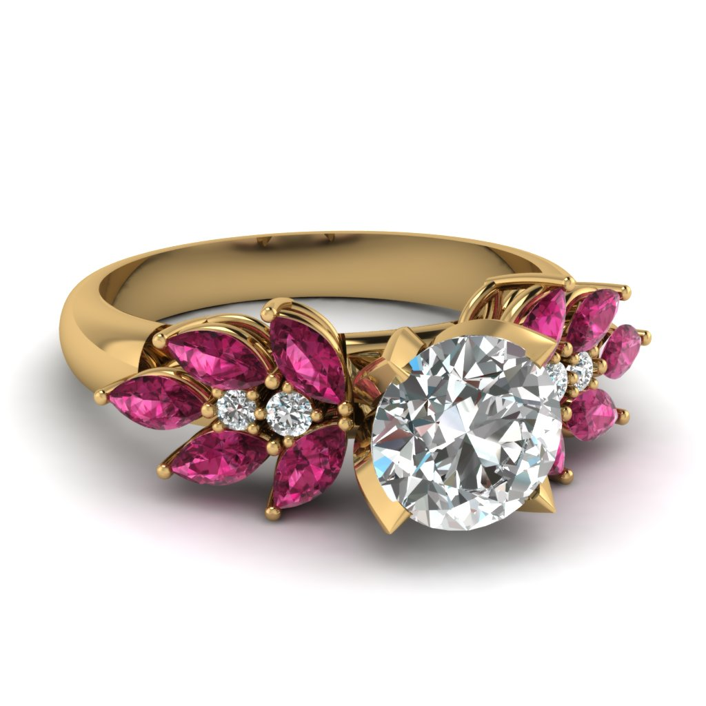 Big Engagement Ring With Pink Sapphire