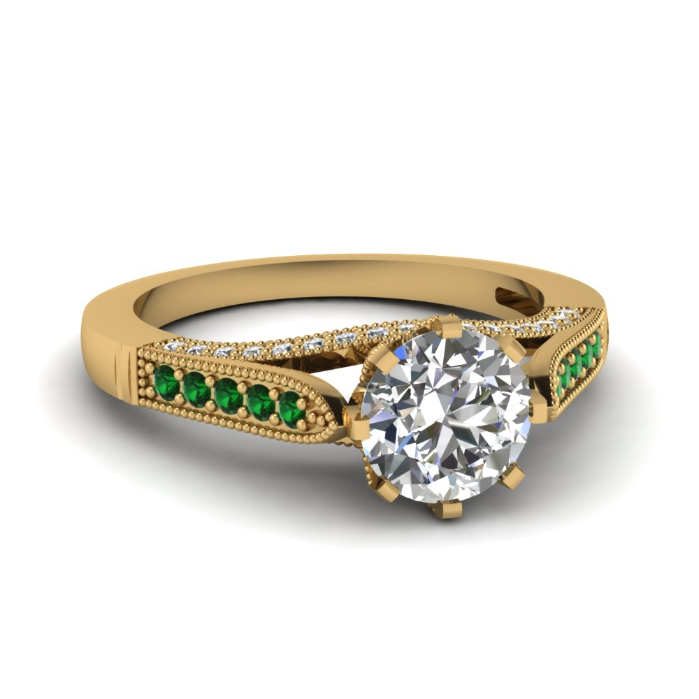 Crown Set Round Diamond & Gemstone Ring