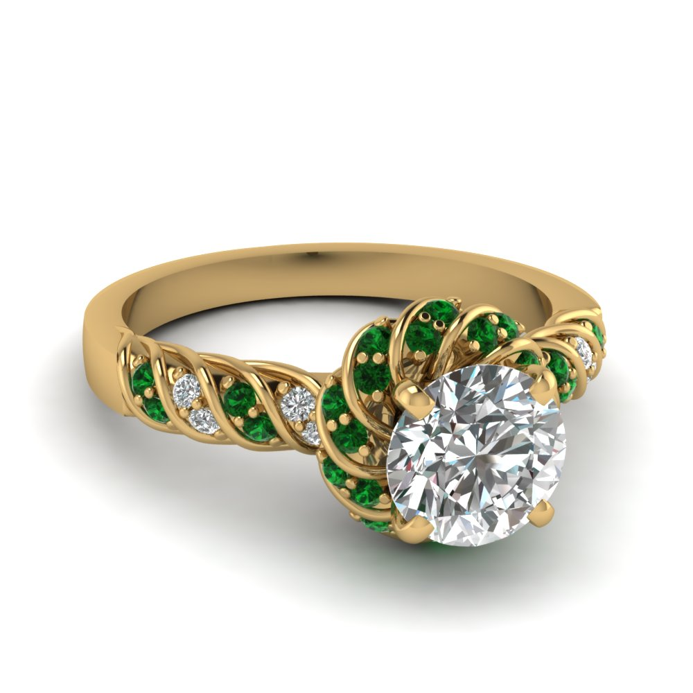 round with emerald engagement yellow jewelry ring green rings three set nl diamond gold cut tension in yg stone
