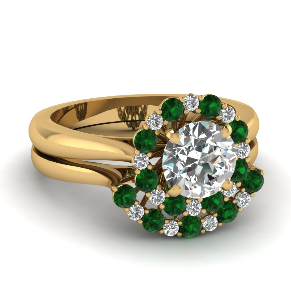 cathedral floating halo diamond wedding ring set with emerald in FDENS3206ROGEMGR NL YG