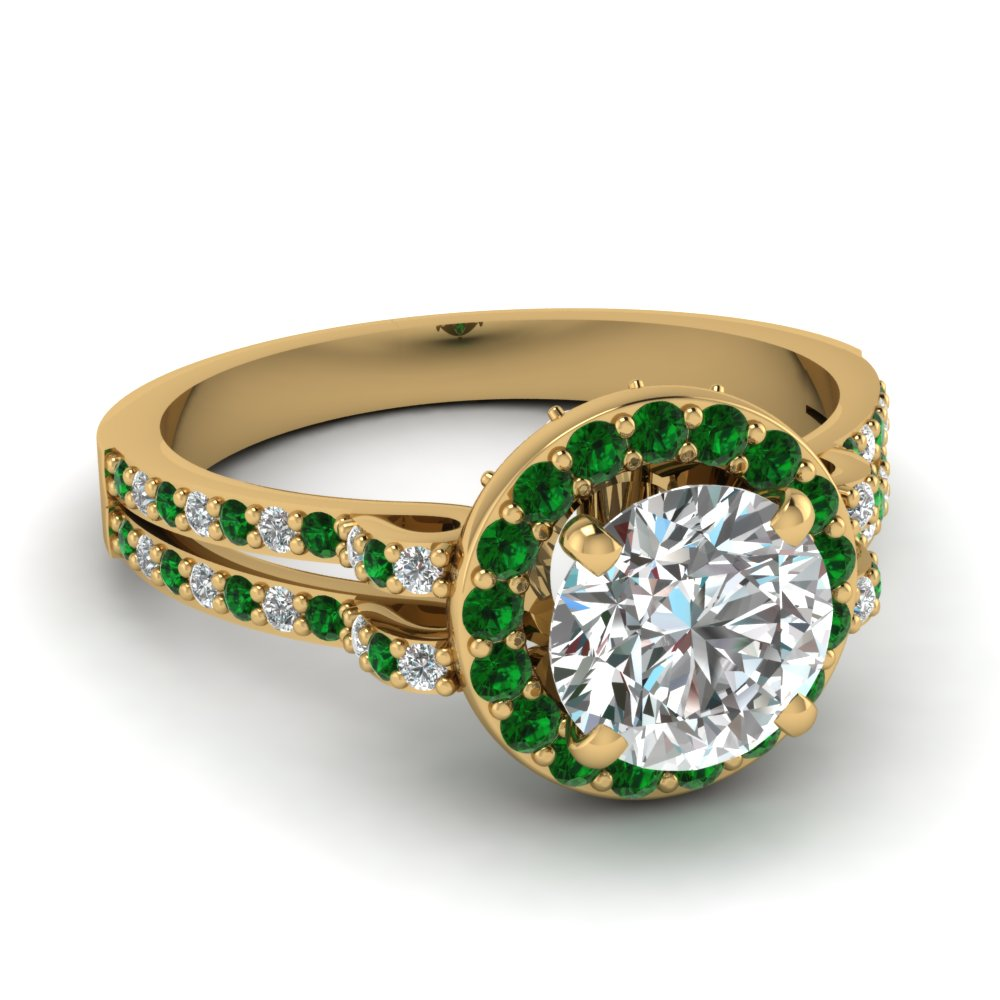 Round Cut Emerald Gallery Ring