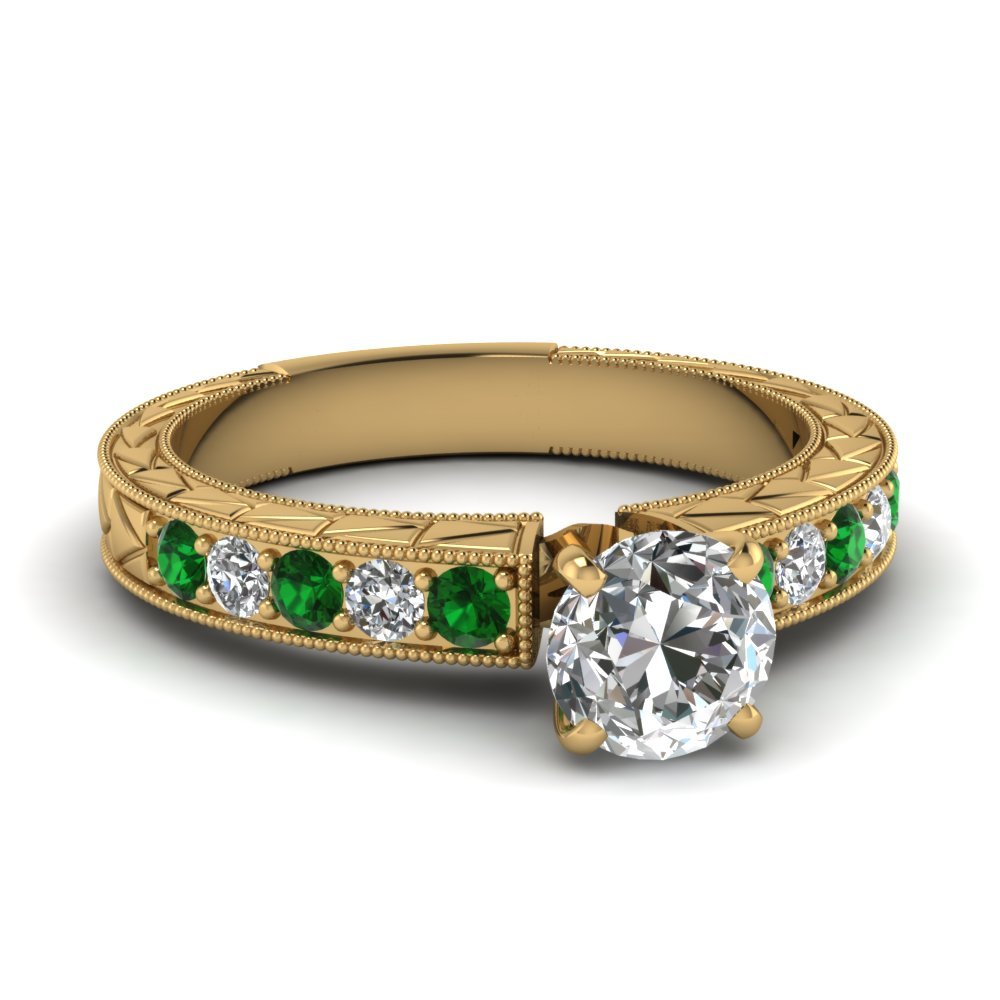 round cut vintage pave diamond engagement ring with emerald in FDENS395RORGEMGR NL YG