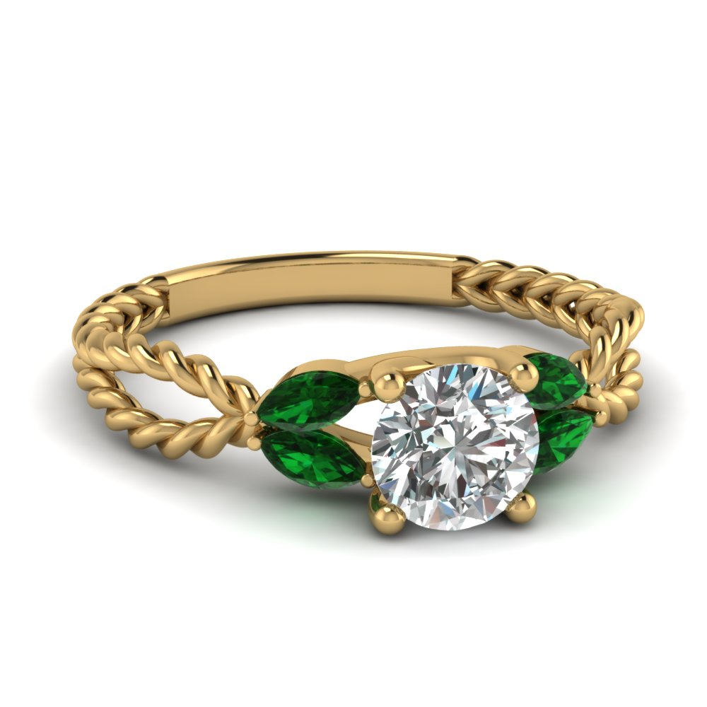 antiope stones rings three trillion george stone engagement product trilogy side emerald view diamond ring cut joseph jg with