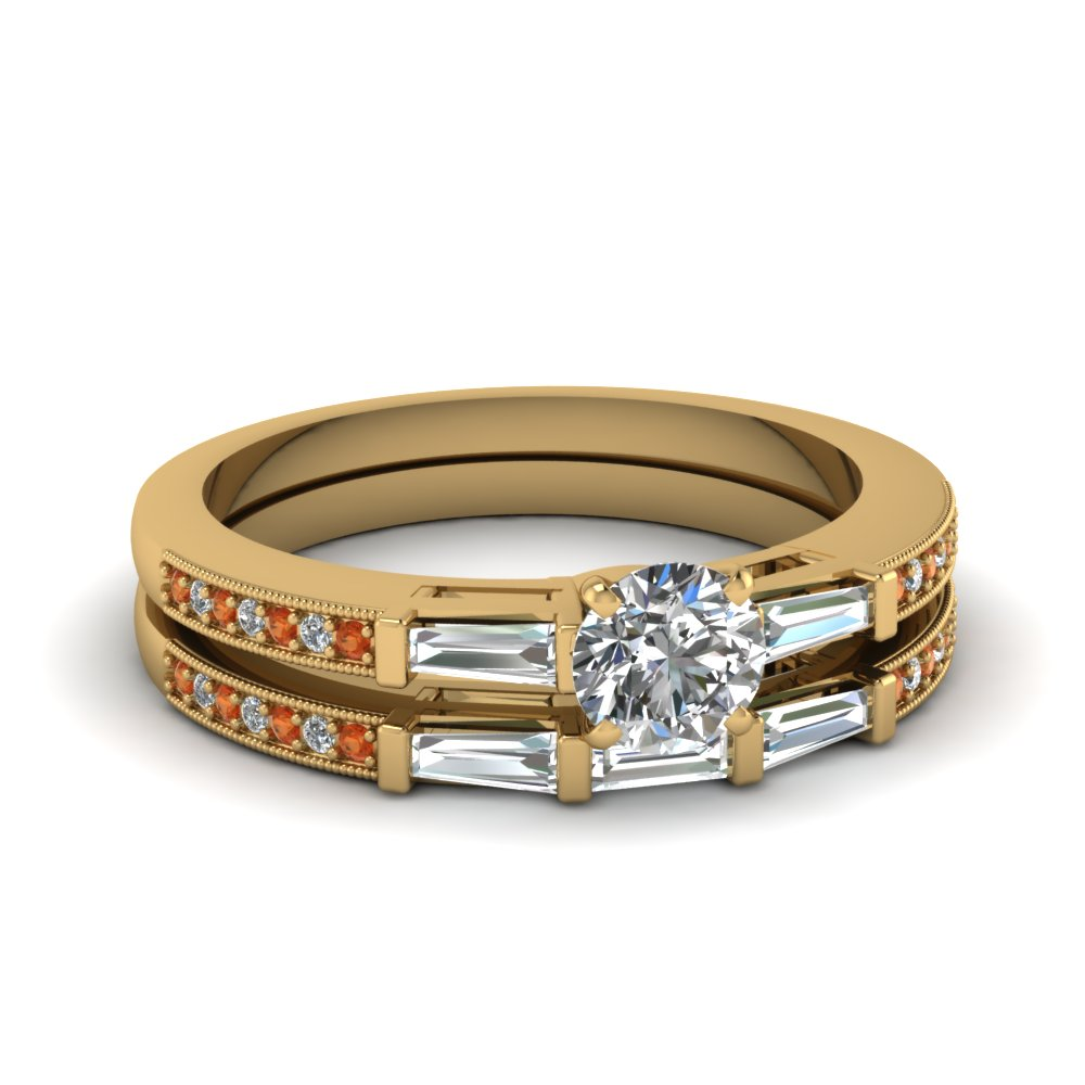 delicate baguette with round diamond wedding set with orange sapphire in FDENS3074ROGSAOR NL YG 30