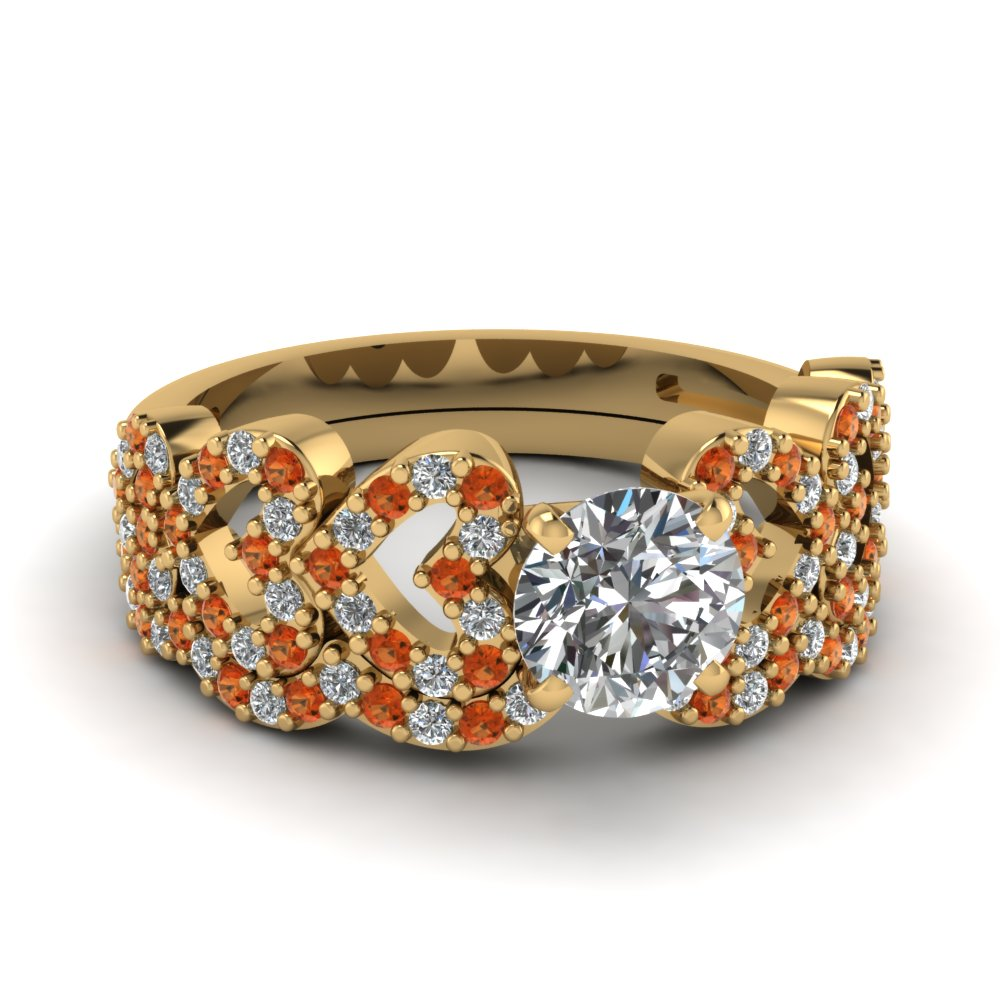 round cut heart design linked diamond wedding set with orange sapphire in FDENS3051ROGSAOR NL YG.jpg