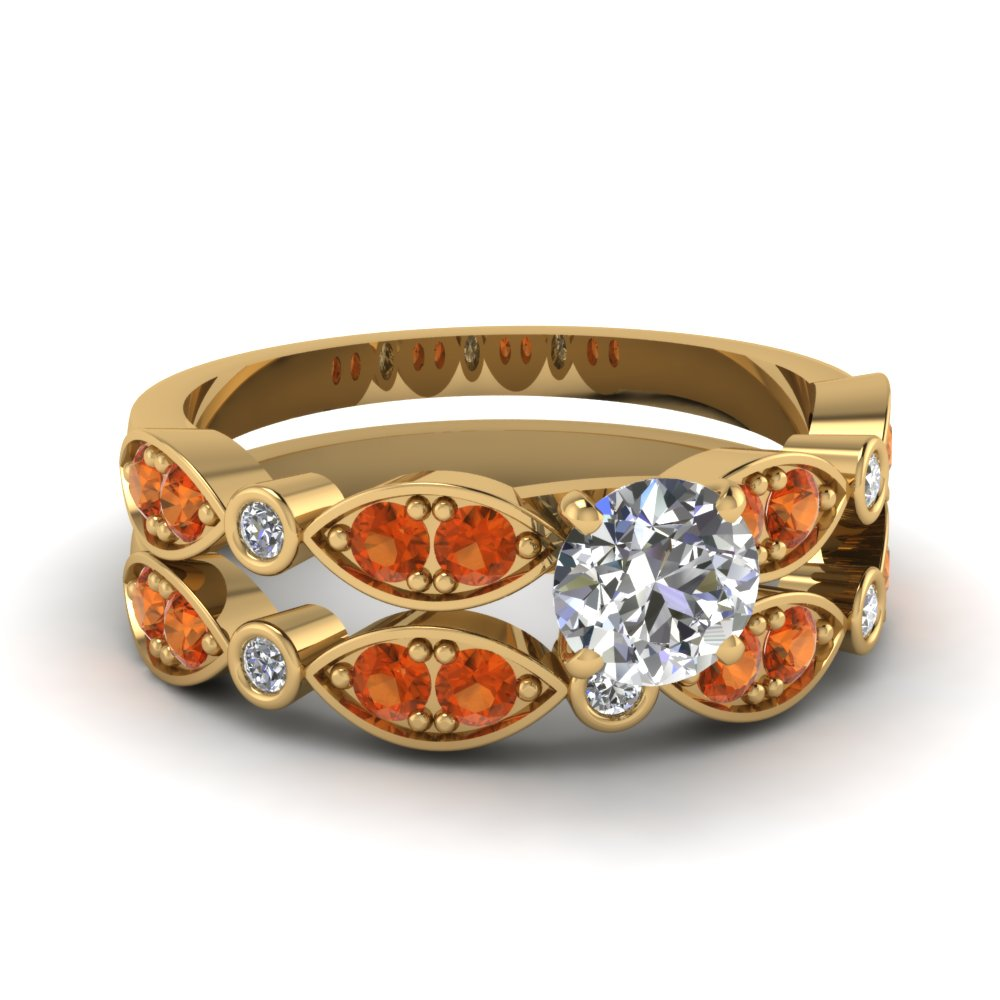 art deco round diamond wedding ring set with orange sapphire in FDENS2035ROGSAOR NL YG