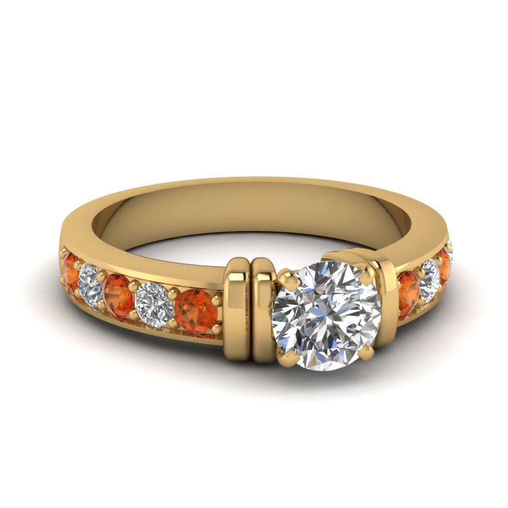 simple bar set round moissanite engagement ring with orange sapphire in FDENR957RORGSAOR Nl YG