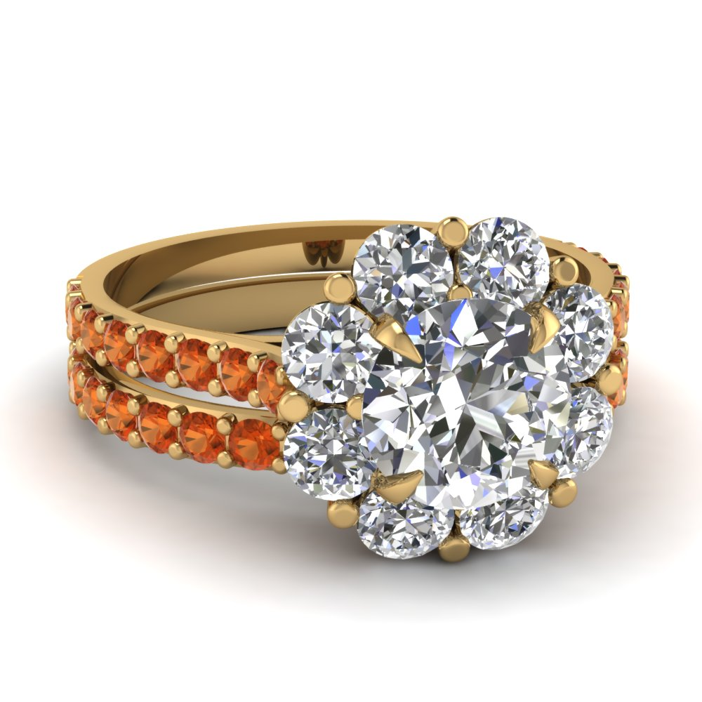 Blossom Halo Orange Sapphire Wedding Ring Set