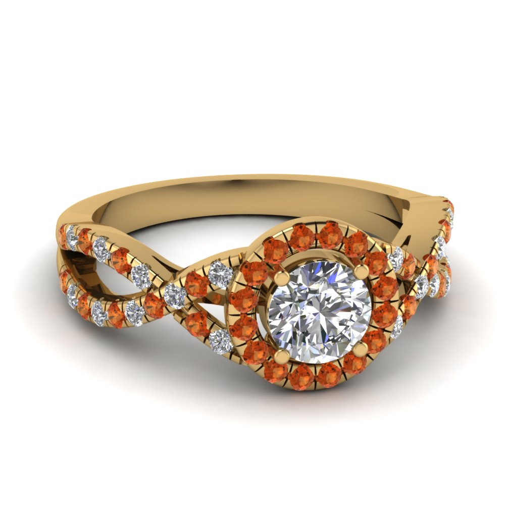 entwined halo diamond engagement ring with orange sapphire in FDENR9320RORGSAOR NL YG