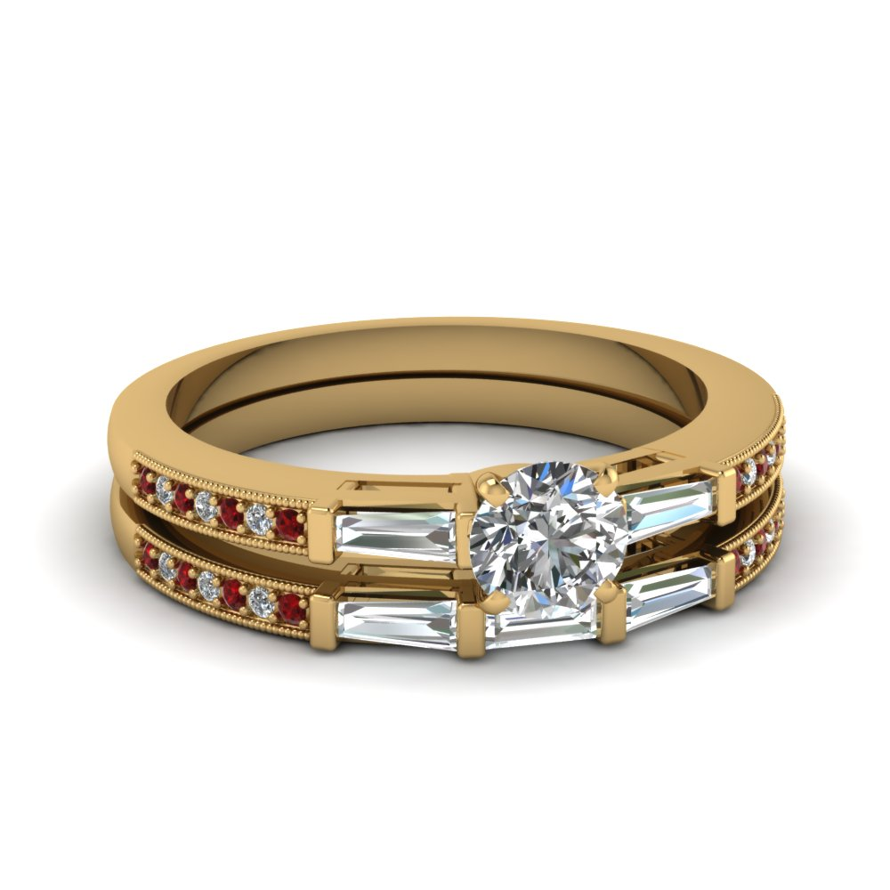 Baguette Diamond Ring With Matching Band