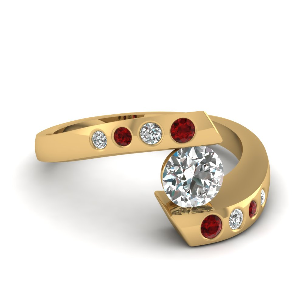 Swirl Bezel Round Ruby Diamond Engagement Ring
