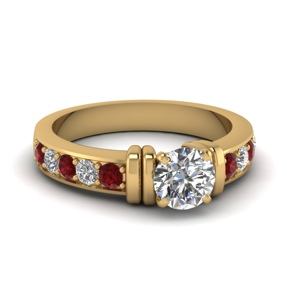 simple bar set round lab diamond engagement ring with ruby in FDENR957RORGRUDR Nl YG