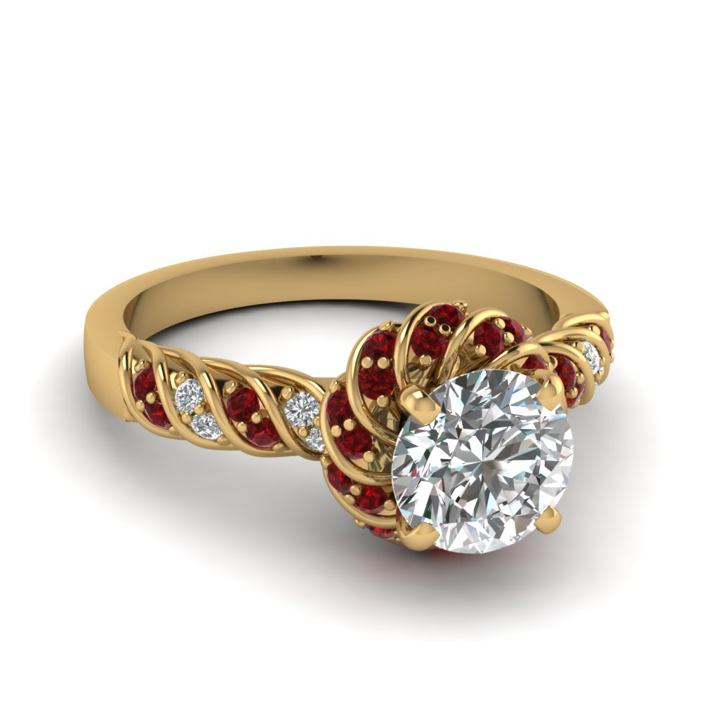 Ruby Twisted Halo Round Cut Diamond Ring In 14k Yellow Gold