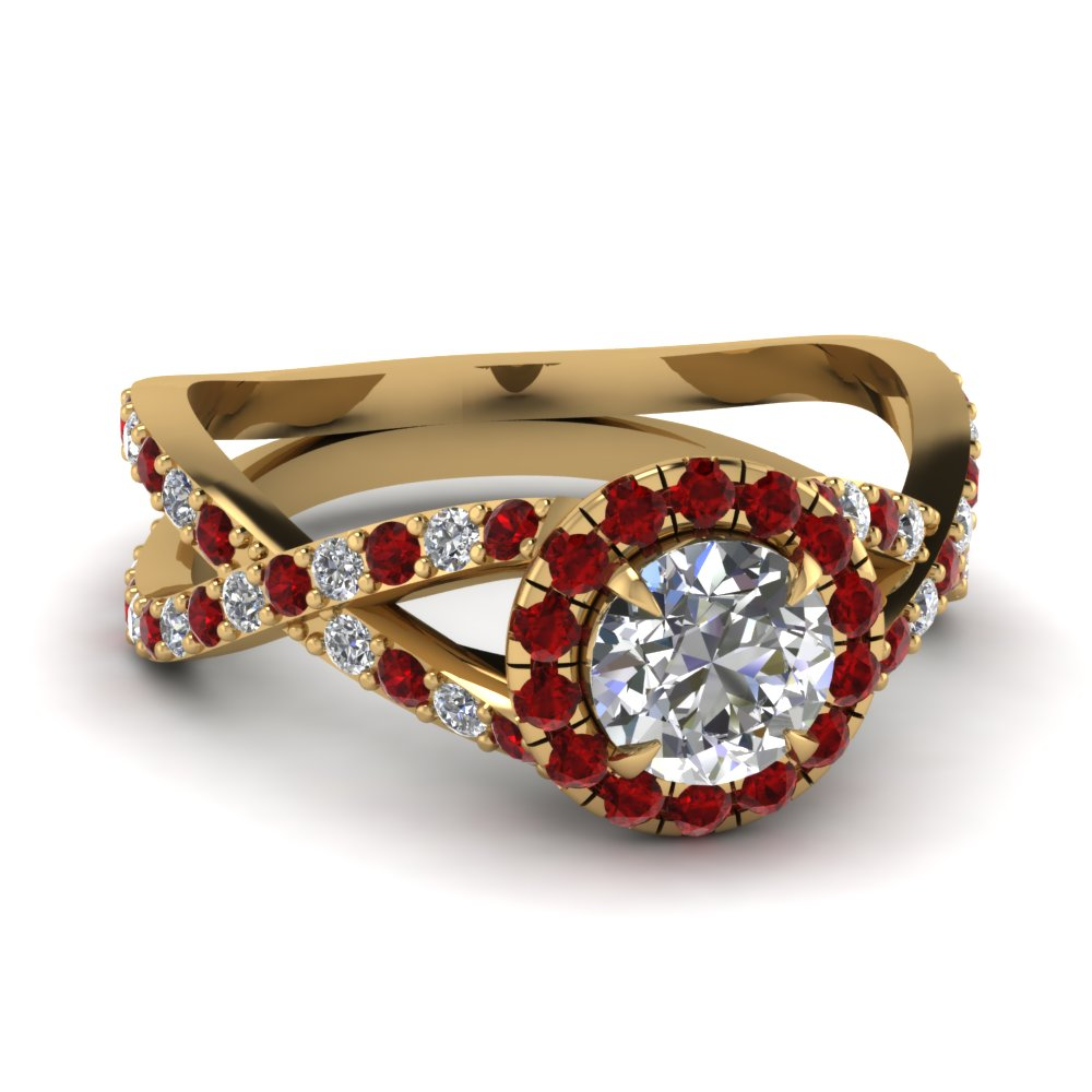 criss cross halo diamond engagement ring with ruby in FD1045RORGRUDR NL YG