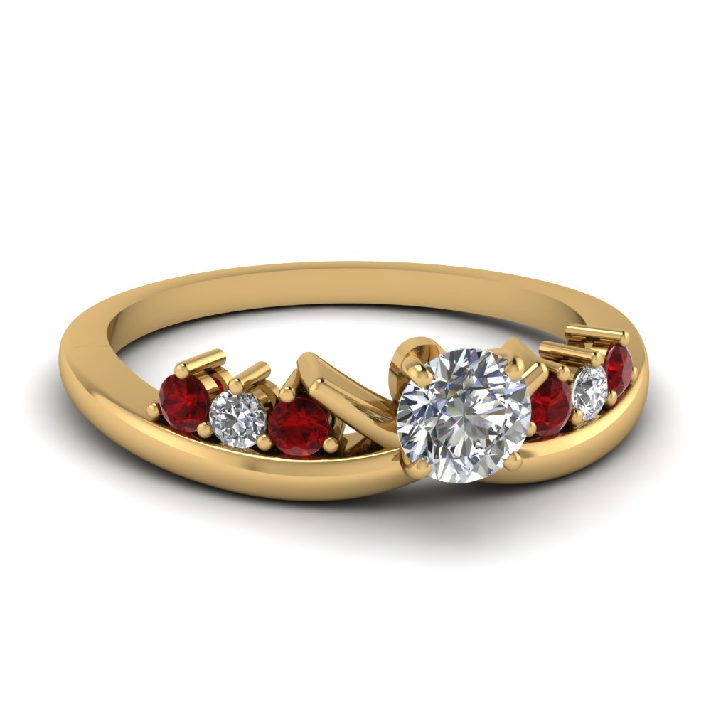 modern round diamond anniversary ring with ruby in FD4490RORGRUDR NL YG