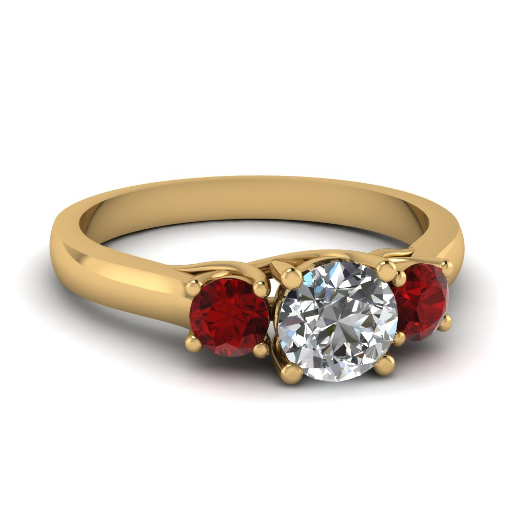 cathedral round cut 3 stone engagement ring with ruby in FDENR191RORGRUDR NL YG.jpg