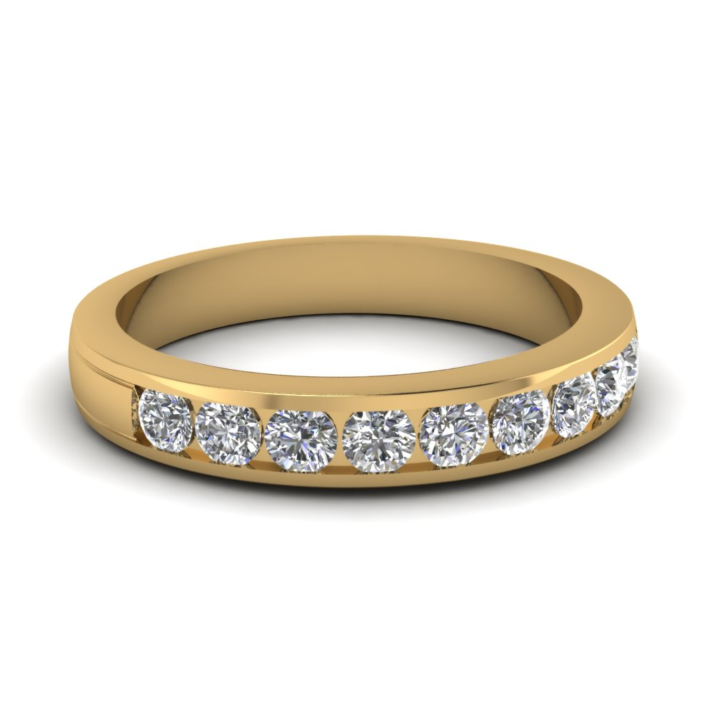 round diamond channel wedding band in FD1028B NL YG