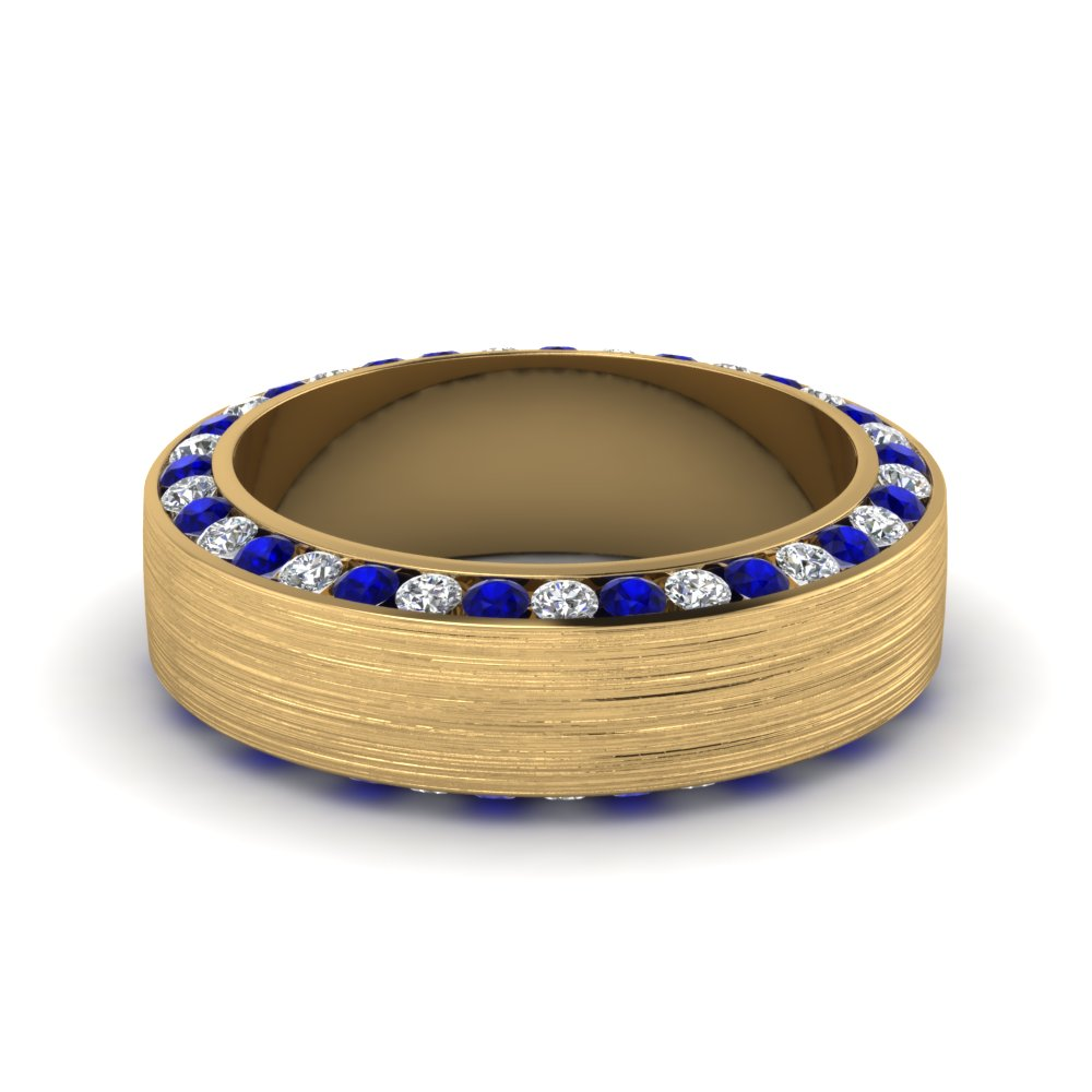 Blue Sapphire Mens Wedding Bands