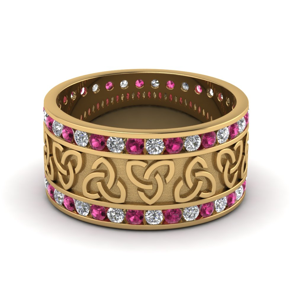 Pink Sapphire Celtic Wedding Band