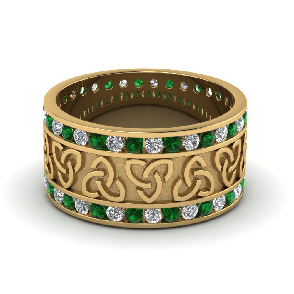 Diamond Celtic Wedding Band With Emerald In FDDB1337BGEMGR NL YG