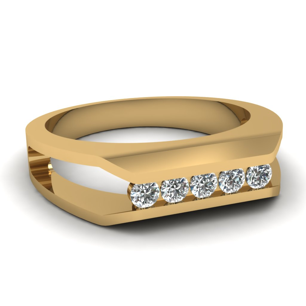 Yellow Gold Round White Diamond Mens Wedding Ring In Channel Set